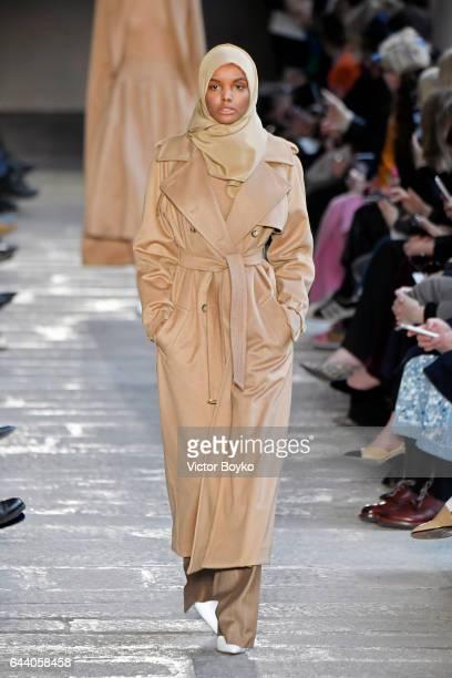 Halima Aden walks the runway at the Max Mara show during Milan Fashion Week Fall/Winter 2017/18 on February 23 2017 in Milan Italy