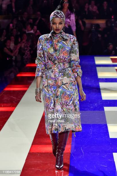 Halima Aden walks the runway during the Tommy Hilfiger TOMMYNOW Spring 2019 TommyXZendaya Premieres at Theatre des ChampsElysees on March 02 2019 in...