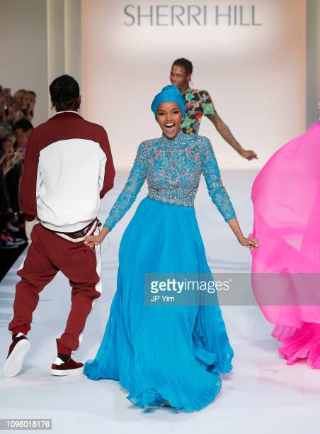 Halima Aden walks the runway for the Sherri Hill Show during New York Fashion Week February 2019 on February 8 2019 in New York City