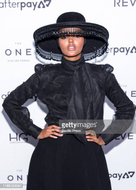 Halima Aden wearing Brock Collection Jimmy Choo shoes and Victoria Hayes hat attends The Daily Front Row 7th Fashion Media Awards at The Rainbow Room...