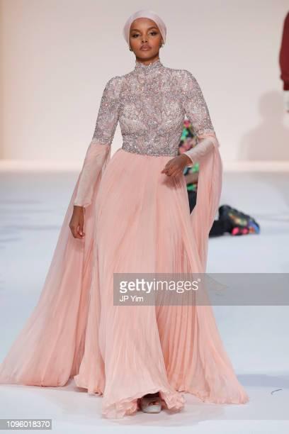 Halima Adenl walks the runway for the Sherri Hill Show during New York Fashion Week February 2019 on February 8 2019 in New York City