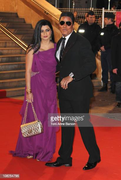 Halima Rashid and Jermaine Jackson attend the NRJ Music Awards 2011 on January 22 2011 in Cannes France