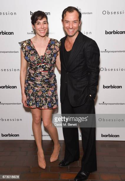 Halina Reijn and Jude Law attend the press night after party for 'Obsession' at The Barbican Centre on April 25 2017 in London England