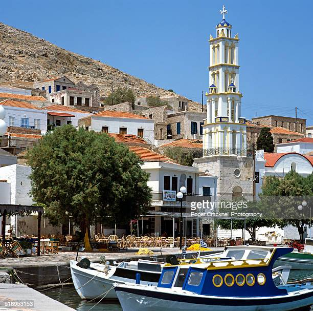 halki harbour greek islands greece - dodecanese islands stock photos and pictures