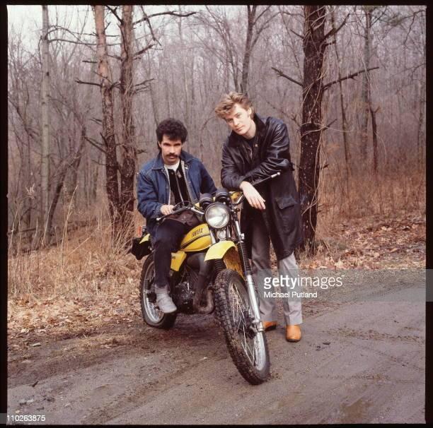 Hall And Oates portrait sitting on a Yamaha motorbike Upstate New York February 1983 LR John Oates Daryl Hall
