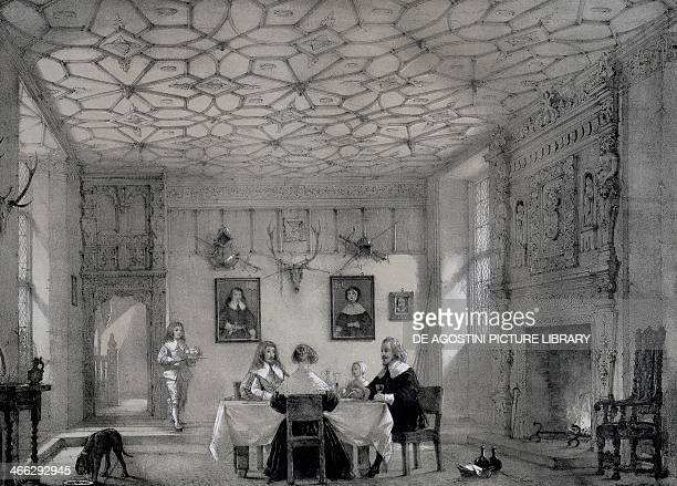 Hall at Wakehurst Sussex engraving from The Mansions in England in the olden time 18391849 by Joseph Nash the Elder