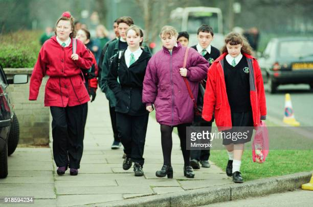 Hall Garth Comprehensive School Middlesbrough Children return to school first day back after tragedy Wednesday 30th March 1994 On 28th March 1994 a...