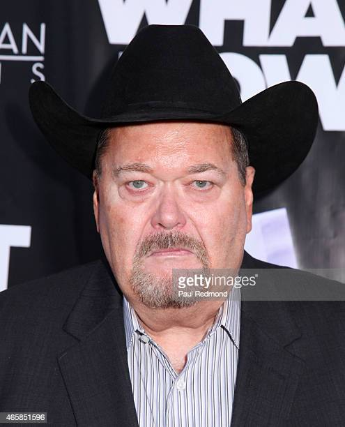 Hall of Fame announcer Jim Ross attends 'What Now' Los Angeles Film Premiere at Laemmle Music Hall on March 10 2015 in Beverly Hills California