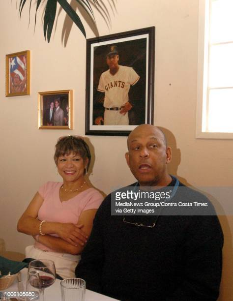Hall of Fame baseball player and former SF Giant's star Orlando Cepeda and wife Mirian hang out during El Coqui's grand opening in Antioch Calif on...