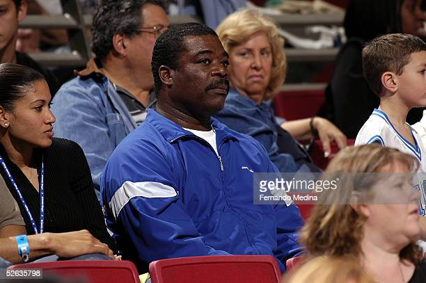 Hall of Fame baseball player Eddie Murray watches a game against the Atlanta Hawks and the Orlando Magic on March 28 2005 at TD Waterhouse Centre in...