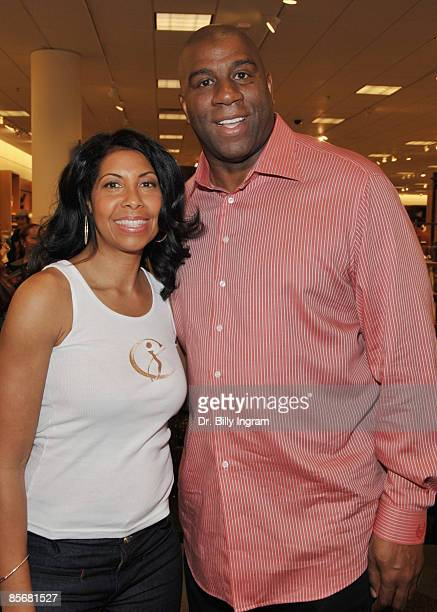 NBA hall of fame basketball legend Earvin Magic Johnson supports his wife Cookie Johnson at the Introduction of CJ Denim By Cookie Johnson at...
