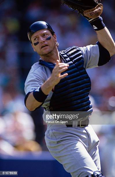 Hall of Fame catcher Carlton Fisk of the Chicago White Sox at Yankee Stadium in Bronx New York
