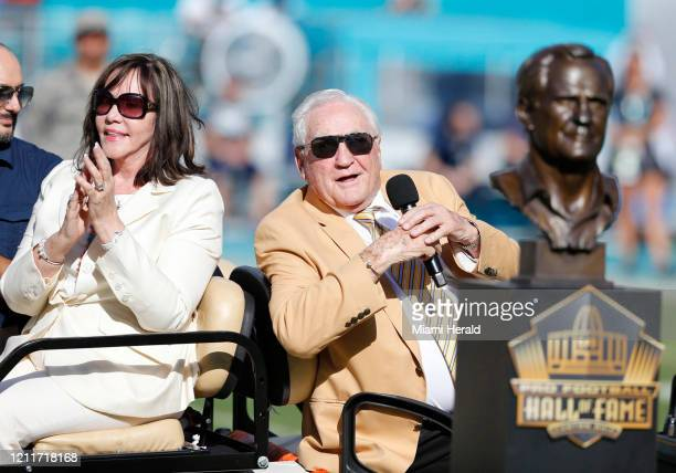 Hall of Fame coach Don Shula is presented with a new Hall of Fame ring at halftime as the Miami Dolphins host the Dallas Cowboys at Sun Life Stadium...