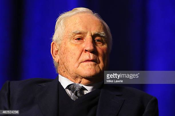 Hall of Fame Coach Don Shula looks on during the Don Shula High School Coach Of The Year Press Conference prior to the upcoming Super Bowl XLIX at...