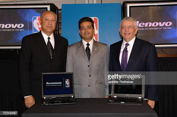 Hall of Fame Coach Lenny Wilkens Lenovo Senior Vice President and Chief Marketing Officer Deepak Advani and NBA Commissioner David Stern announce a...