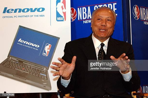Hall of Fame Coach Lenny Wilkens speaks to the media during a press conference announcing a global partnership between the NBA and Lenovo at the NBA...