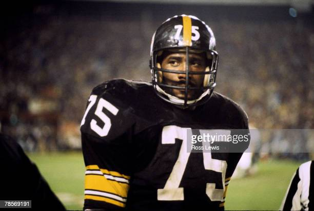 "Hall of Fame defensive tackle ""Mean"" Joe Greene of the Pittsburgh Steelers during the Steelers 35-31 victory over the Dallas Cowboys in Super Bowl..."