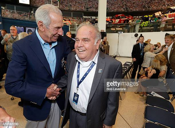 Hall of Fame driver Ned Jarrett left congratulates 2016 inductee Jerry Cook during the NASCAR Hall of Fame Class of 2016 Announcement at the NASCAR...
