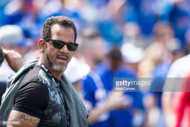 Hall of Fame former Buffalo Bills player Andre Reed walks the sideline before the game against the New York Jets on September 10 2017 at New Era...