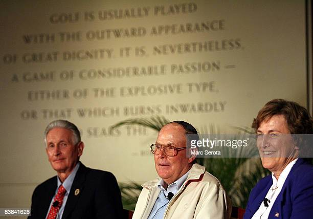 Hall of Fame golfers Sir Bob Charles Pete Dye and Carol Semple Thompson attend the World Golf Hall of Fame 2008 Induction Ceremonies on November 10...