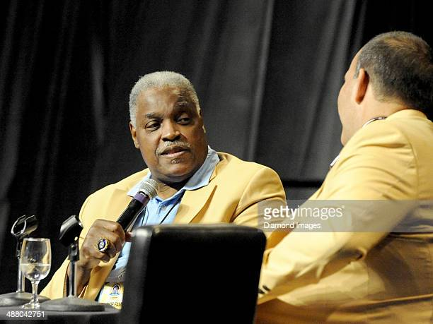 Hall of Fame guard Art Shell takes part in the 'Chalk Talk' pannel during the first Pro Football Hall of Fame Fan Fest at the IX Center in Cleveland...