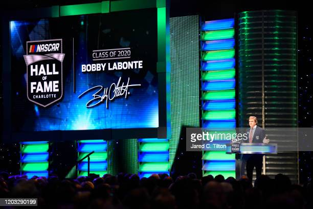 Hall of Fame inductee Bobby Labonte speaks during the 2020 NASCAR Hall of Fame Induction Ceremony at Charlotte Convention Center on January 31 2020...