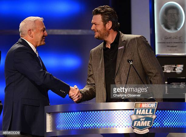 Hall of Fame inductee Dale Jarrett welcomes country music singer Blake Shelton during the Hall of Fame induction ceremony on Wednesday Jan 29 in...