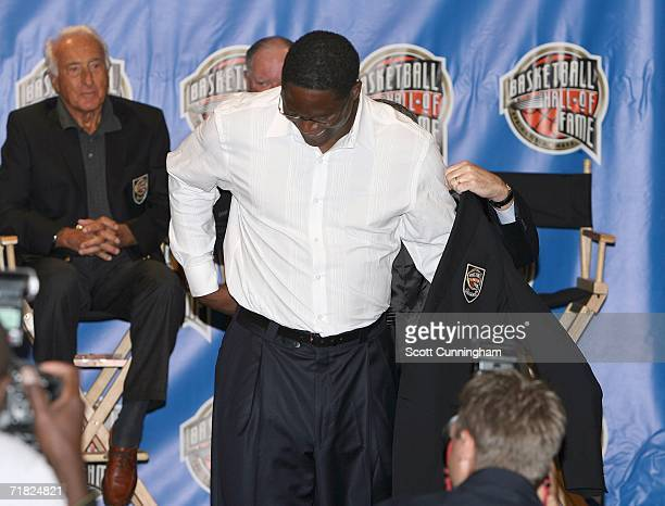 Hall of Fame inductee Dominique Wilkins puts on the Hall Of Fame Jacket during the 2006 Basketball Hall of Fame Press Conference on September 8 2006...