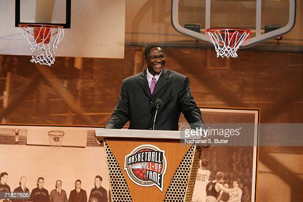 Hall of Fame inductee Dominique Wilkins speaks to the crowd during the 2006 Basketball Hall of Fame induction ceremony on September 8 2006 at the...
