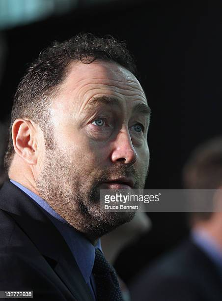 Hall of Fame inductee Ed Belfour takes part in a photo opportunity at the Hockey Hall Of Fame on November 14 2011 in Toronto Ontario Canada