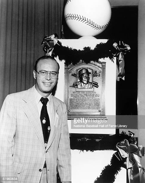 Hall of Fame inductee Eddie Mathews poses for a portrait at his 1978 Induction Ceremony in Cooperstown New York Edwin Lee Mathews played for the...