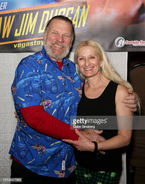 Hall of Fame inductee Hacksaw Jim Duggan and his wife Debra Duggan attend ToyCon 2020 at the Eastside Cannery Casino Hotel on March 14 2020 in Las...