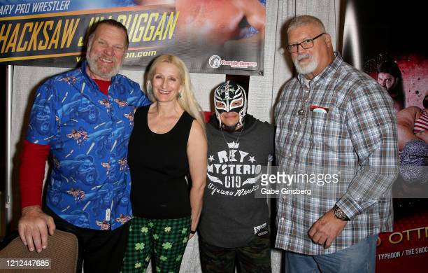 WWE Hall of Fame inductee Hacksaw Jim Duggan and his wife Debra Duggan professional wrestler Rey Mysterio Jr and former professional wrestler Fred...