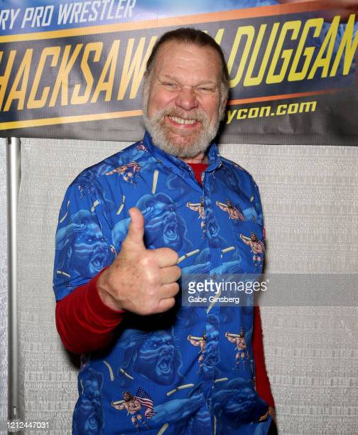 Hall of Fame inductee Hacksaw Jim Duggan attends ToyCon 2020 at the Eastside Cannery Casino Hotel on March 14 2020 in Las Vegas Nevada