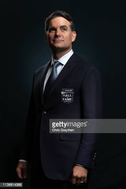 Hall of Fame Inductee Jeff Gordon poses for a photo during the 2019 NASCAR Hall of Fame Induction Ceremony at the Charlotte Convention Center on...
