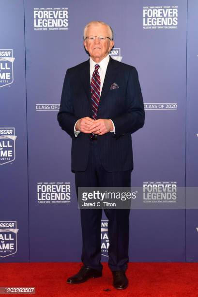 Hall of Fame Inductee Joe Gibbs poses on the red carpet prior to the 2020 NASCAR Hall of Fame Induction Ceremony at Charlotte Convention Center on...