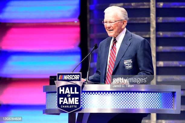 Hall of Fame inductee Joe Gibbs speaks during the 2020 NASCAR Hall of Fame Induction Ceremony at Charlotte Convention Center on January 31 2020 in...