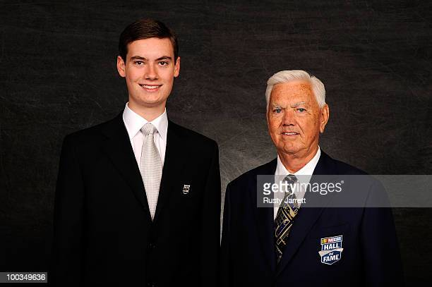Hall of Fame inductee Junior Johnson and his son Robert pose prior to the 2010 NASCAR Hall of Fame Induction Ceremony at The RitzCarlton on May 23...