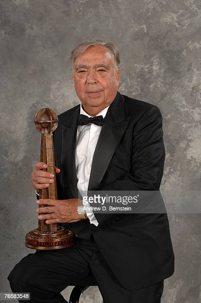 Hall of Fame inductee Pedro Ferrandiz poses with the award during the Naismith Basketball Hall of Fame induction ceremony September 7 2007 in...