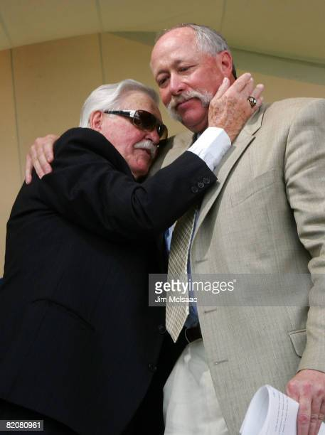 """Hall of Fame inductee Rich """"Goose"""" Gossage gets a hug from fellow inductee Dick Williams at Clark Sports Center after the Baseball Hall of Fame..."""