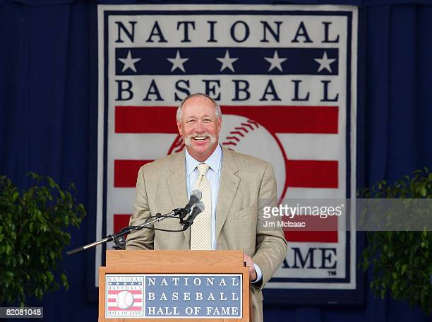 """Hall of Fame inductee Rich """"Goose"""" Gossage gives his induction speech at Clark Sports Center during the Baseball Hall of Fame induction ceremony on..."""