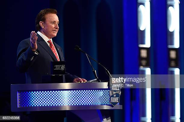 Hall of Fame inductee Richard Childress speaks during the NASCAR Hall of Fame Class of 2017 Induction Ceremony at NASCAR Hall of Fame on January 20...