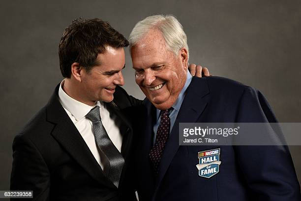Hall of Fame inductee Rick Hendrick and former NASCAR driver Jeff Gordon share a moment prior to the NASCAR Hall of Fame Class of 2017 Induction...