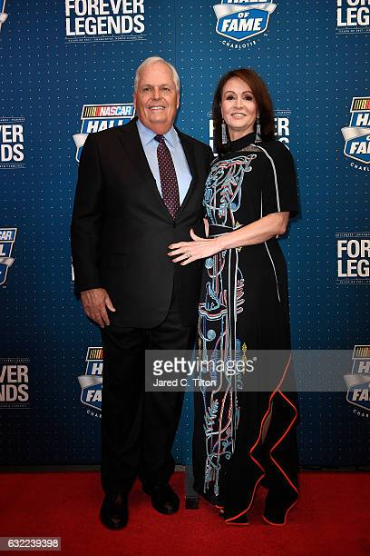 Hall of Fame inductee Rick Hendrick poses on the red carpet with his wife Linda prior to the NASCAR Hall of Fame Class of 2017 Induction Ceremony at...