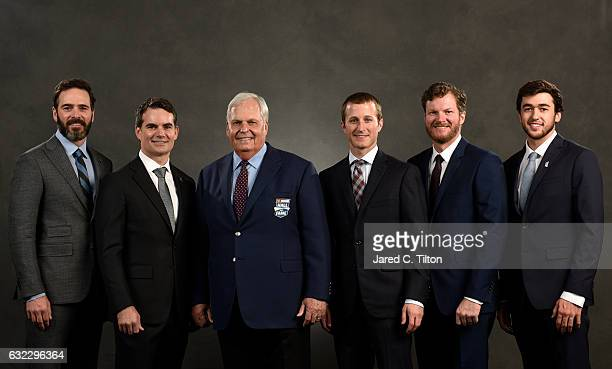 Hall of Fame inductee Rick Hendrick poses with his NASCAR drivers Jimmie Johnson Jeff Gordon Kasey Kahne Dale Earnhardt Jr and Chase Elliott after...