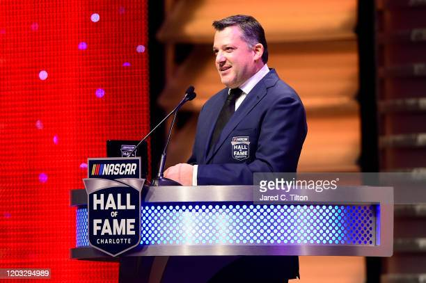 Hall of Fame inductee Tony Stewart speaks during the 2020 NASCAR Hall of Fame Induction Ceremony at Charlotte Convention Center on January 31 2020 in...