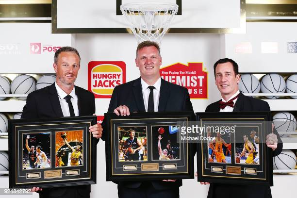 Hall Of Fame inductees Glen Saville Tony Ronaldson and Brett Maher pose at the 2018 NBL MVP Awards Night at Crown Palladium on February 27 2018 in...