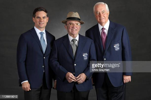 Hall of Fame Inductees Jeff Gordon Jack Roush and Roger Penske pose for a photo during the 2019 NASCAR Hall of Fame Induction Ceremony at the...