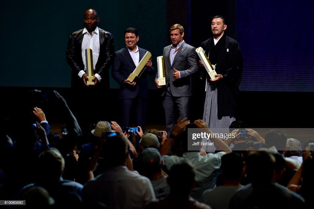 Hall of Fame inductees Maurice Smith, Joe Silva, Urijah Faber and Kazushi Sakuraba during the UFC Hall of Fame 2017 Induction Ceremony at the Park Theater on July 6, 2017 in Las Vegas, Nevada.