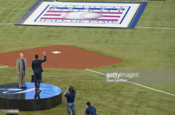 Hall of Fame Inductees Pat Gillick and Roberto Alomar are honoured prior to the home opener for the Toronto Blue Jays as they face the Minnesota...